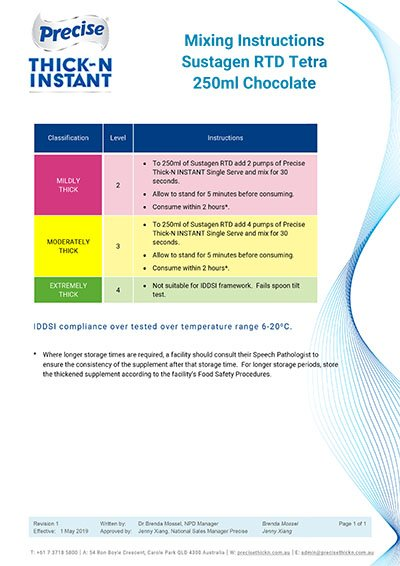 Mixing Instructions - Sustagen RTD Tetra 250ml Chocolate