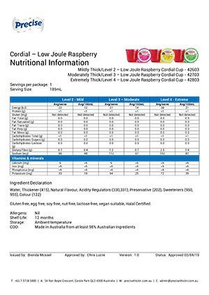 Low Joule Raspberry Cordial – Nutritional Information